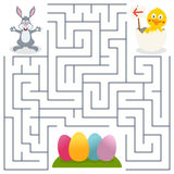 Bunny Rabbit & Easter Eggs Maze for Kids. Easter maze game for children. Help the bunny rabbit find the way to the Easter eggs. Eps file available Stock Photography