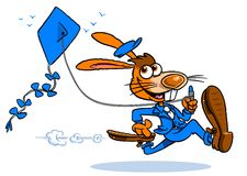 Bunny rabbit with kite. Cartoon illustration of a happy rabbit or hare in a blue suit running fast pulling on the string of a blue kite, white background Stock Photos