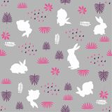 Bunny rabbit, leaves and plants repeating seamless pattern vector illustration
