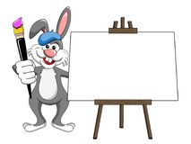 Bunny or rabbit painter brush and palette blank canvas. On white Stock Photography