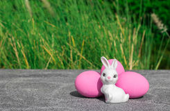 Bunny rabbit pink easter egg Royalty Free Stock Image