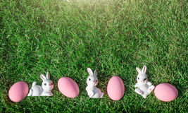 Bunny rabbit pink easter egg Royalty Free Stock Images