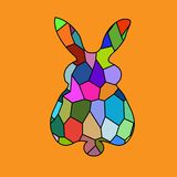 Bunny rabbit portrait mosaic bright colorful Stock Images