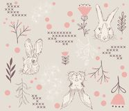 Bunny rabbit sketch and repeating pattern royalty free illustration