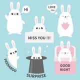 Bunny rabbit sticker emotion emoji icon set. Miss you. Hi. Good night, love you. Funny head face. Cute cartoon character. Magic ha. T. heart. Kawaii animal. Baby vector illustration