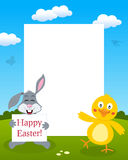 Bunny Rabbit y Chick Photo Frame Imagenes de archivo