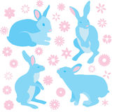 Bunny rabbits and spring flowers collection vector illustration Stock Photography