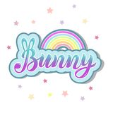 Bunny with Rainbow isolated on background. Hand drawn lettering Bunny as logo, patch, sticker, badge, icon, t-shirt design. Template for First Birthday, party Stock Images