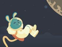 Bunny Relaxing no espaço Ilustração Royalty Free
