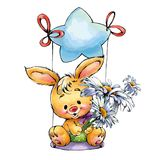 Bunny riding a star with a bouquet of chamomiles. Bunny riding a  big star with a bouquet beautiful flowers Stock Photos