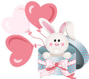 Bunny in round gift box with bow ribbon and balloons Royalty Free Stock Images