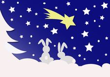 Bunny's. And christmas comet illustration Stock Photos