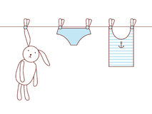 Bunny's laundry vector illustration