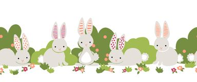 Bunny seamless vector border. Cute bunnies, flower bushes repeating background. Cartoon style rabbits kids design. For digital vector illustration