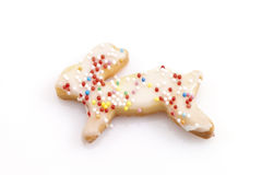 Bunny-shaped Easter cookie Stock Photos