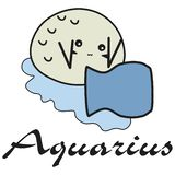 Bunny is a sign of the zodiac Aquarius in a cartoon style vector illustration