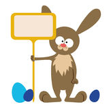 Bunny with signboard Stock Photos