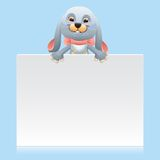 Bunny with signboard Royalty Free Stock Photography