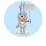 Bunny with signboard Royalty Free Stock Images