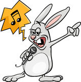 Bunny singing rock cartoon illustration Stock Photos