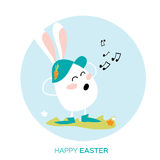 Bunny singing. White easter rabbit. Happy Easter Royalty Free Stock Photography