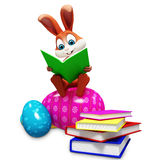 Bunny sitting on egg  & reading a book Stock Image