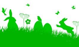 Bunny Sitting In The Meadow mit Osterei, Ostern-Konzept mit Schmetterling und Vögeln - Vektor Stockbilder