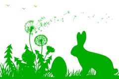 Bunny Sitting In The Meadow mit Osterei, Ostern-Konzept - Vektor Stockfotos