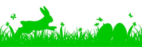 Bunny Sitting In The Meadow, Ostern-Konzept Vektor Abbildung