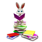 Bunny sitting on pile of books Stock Image
