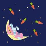 Bunny Sleeping On The Moon Stock Photo