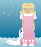 Bunny Slippers and Blankie 1. Little blonde girl in her nightgown and bunny slippers clutches her blankie - ready to be put to bed Vector Illustration