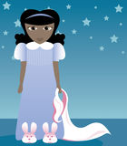 Bunny Slippers and Blankie 2. Little girl in her nightgown and bunny slippers, clutching her blankie - ready for bed Royalty Free Illustration