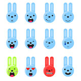 Bunny smile emoji set. Emoticon icon flat style vector. Stock Photo