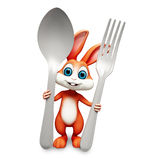 Bunny with spoons. 3d rendered illustration of bunny with spoons Stock Images