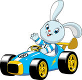 Bunny in a sport car. Vector illustration of a funny rabbit driving a retro sport car Stock Photos