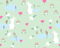 Bunny with spring flowers seamless pattern on green background. Cute childlike style holiday background. Design for. Bunny with spring flowers seamless pattern Stock Photo