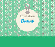 Bunny PRINT border. Bunny Spring holiday invitation template. Green color, Vector Illustration. Vintage style. For Art, Print, Scrapbook, Fashion, Web design Royalty Free Stock Photography