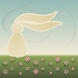 Bunny in the Springtime. Bunny sits in grass and flowers, long ears flapping in the wind - soft colors and vintage style Stock Illustration
