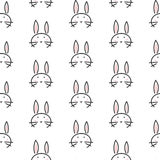 Bunny stylized line fun seamless pattern for kids and babies. Royalty Free Stock Image