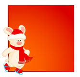 Bunny in the suit of Santa Claus. Cartoon little toy bunny in the suit of Santa Claus goes for a drive on skates royalty free illustration