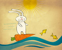 Bunny surfing on a carrot Stock Photos