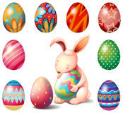 A bunny surrounded with Easter eggs Royalty Free Stock Images