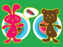 Bunny and teddy. Pink bunny and brown teddy bear - cartoon character Royalty Free Stock Images