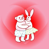 Bunny and teddy bear in love Stock Photography