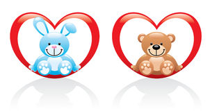 Bunny and teddy bear sitting in the heart Stock Images