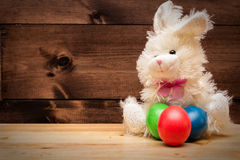 Bunny. Three Easter Eggs and the Easter Rabbit Royalty Free Stock Photography