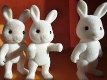 Bunny toys. Close view of three white bunny toys Stock Photo