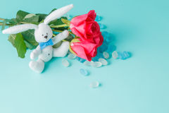 Bunny toys with rose flower Stock Photos