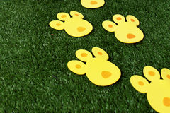 bunny tracks for Easter eggs hunt Stock Images